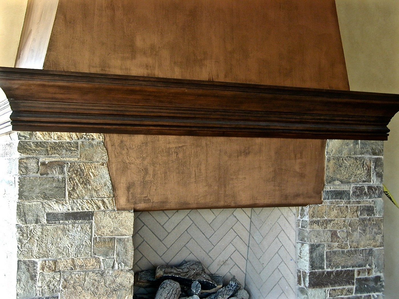 Distressed Copper Fireplace
