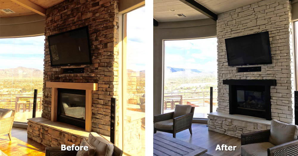 before and after - stone fireplace faux finish